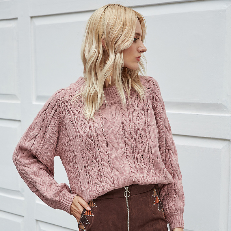 Fashion Solid Cable Autumn Winter 2020 New Ladies Knitted Sweater Women O-neck Full Sleeve Loose Pullovers Top Brown Red Pink