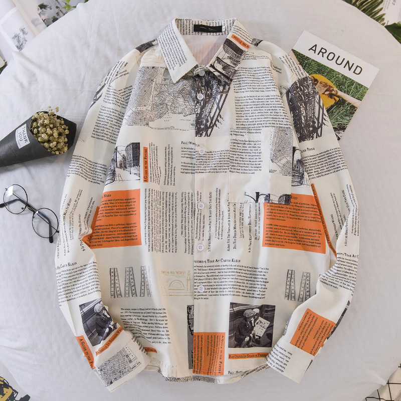 2020 Spring New Men Long Sleeve Shirt Personality Newspaper Printing Cardigan Men Shirt Casual Fashion Plus Size Loose Men Shirt