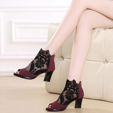Women sandals Sexy High Heel hollow Shoes Breathable Hollow Out mesh sexy sandals size Woman Platform Heels fashion shoes