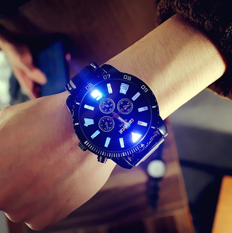 Men Women Quartz Watch Military Watches Sport Wristwatch Silicone Fashion Hours Led Luminous Glow Super Large Dial Trend Watch