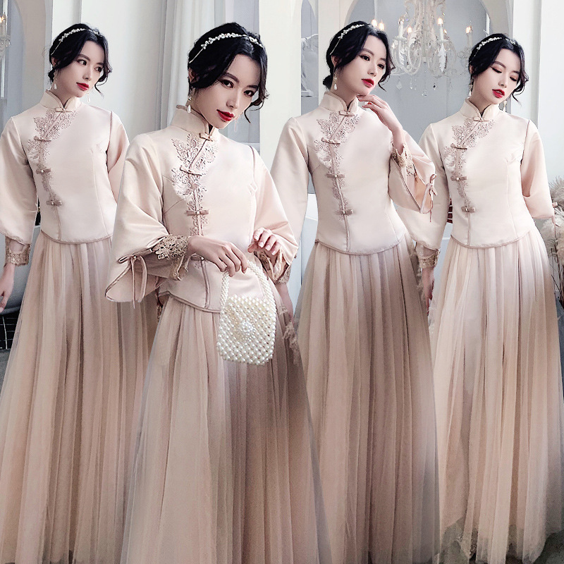 2020 Sale Bridesmaid Dresses Long Chinese Bridesmaid Dress 2020 New Winter Long Girlfriends Fairy Wedding Sister Group Style