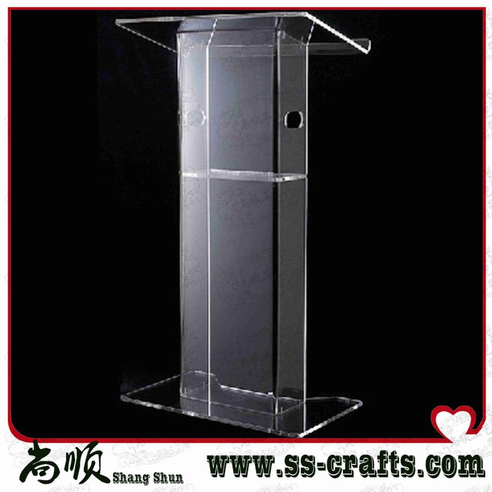 Clear 12mm Thickness Low Floor Acrylic Church Podium Stand,Cheap Pulpit,Acrylic Lectern Plexiglass
