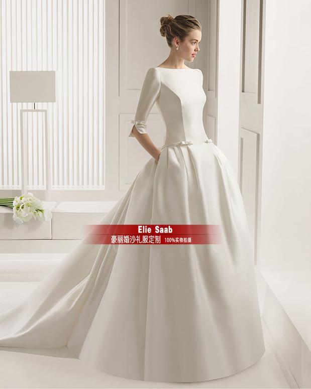 Muslim casamento sleeves bow vestido de noiva 2016 new fashionable sexy backless ball bridal gown wedding dress free shipping