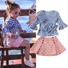 цена на Toddler Kids Girls Skirt Set Flare Sleeve Ruffle Tunic Blouse T-Shirt Tops + Tutu Dress Party Skirts Spring Summer Suit