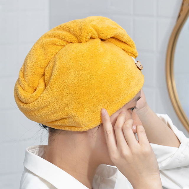 Girl's Hair Drying Hat Quick-dry Hair Towel Cap Hat Bath Hat Microfiber Solid Towel Cap Super Absorption Turban Hair Dry Cap 5