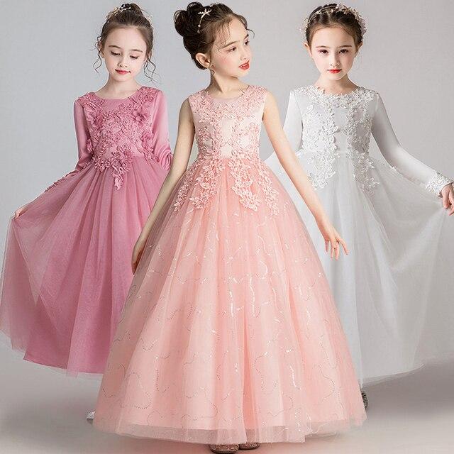 GirlsCampus mezuniyet dans partisi uzun elbise çiçek kız düğün Bridesmaids Eucharist parti boyu nedime elbisesi