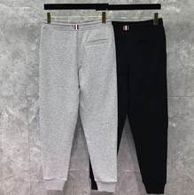 2020 Fashion TB THOM Brand Sweatpants Men Panelled Casual Sport Trousers 100% Cotton Tracksuit Bottoms Jogger Track Pants(China)