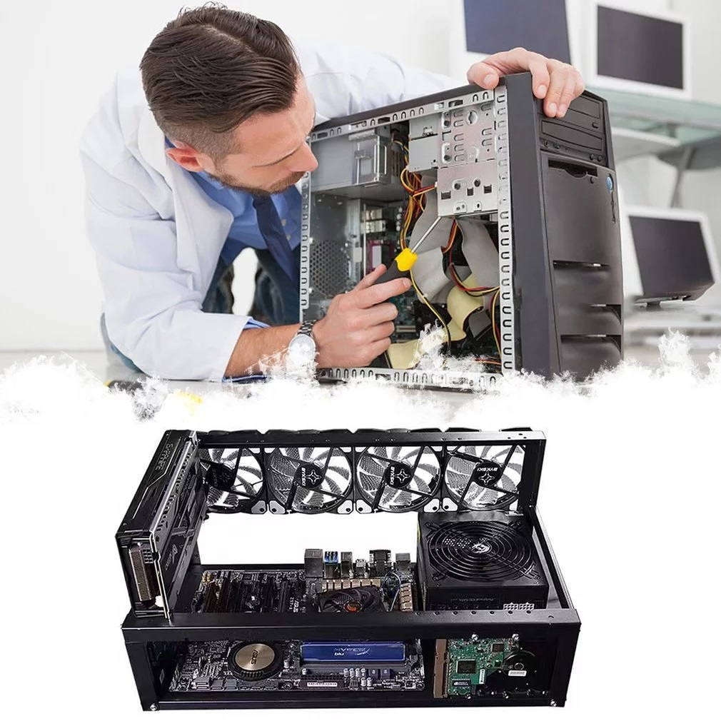 Steel Open Air Miner Mining Frame Rig Case Up to 6 GPU for Bitcoin Crypto Coin Currency Mining Digital currency Virtual New 2