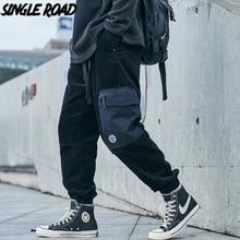 Cargo-Pants Joggers Streetwear-Trousers Side-Pockets Japanese Black Men Hip-Hop Singleroad