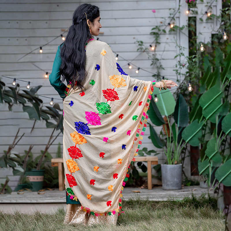2020 inde Styles ethniques dame brodé Saree mousseline de soie châle belle grande multicolore Hijab confortable femme Hijab écharpe