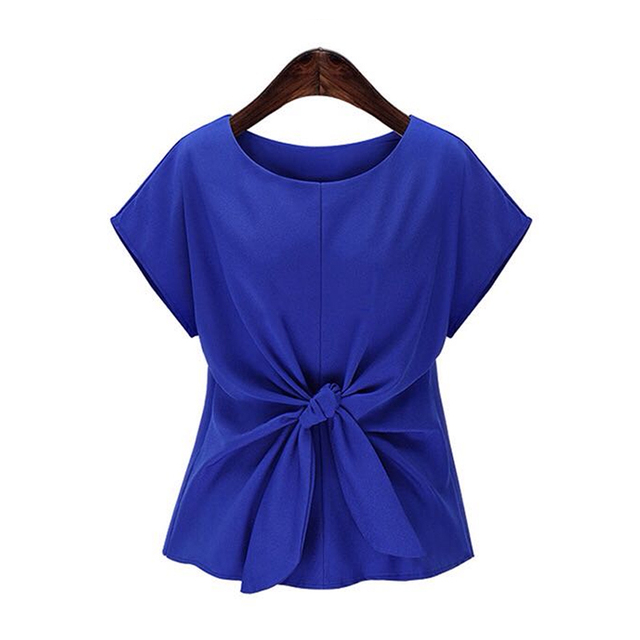 2020 Women Summer Short Sleeve Bow Knot Chiffon Blouse Shirt Ladies Casual Top Tee Shirt 3
