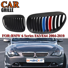 MagicKit Front Kidney Hood Center Grille for BMW 6-Series E63 E64 630i/635d/645Ci/650i/M6 Coupe 2004-2010 Car Center Grills car styling glossy black m color front grille grilles for bmw 6 series e63 e64 m6 05 10 convertible coupe auto car styling