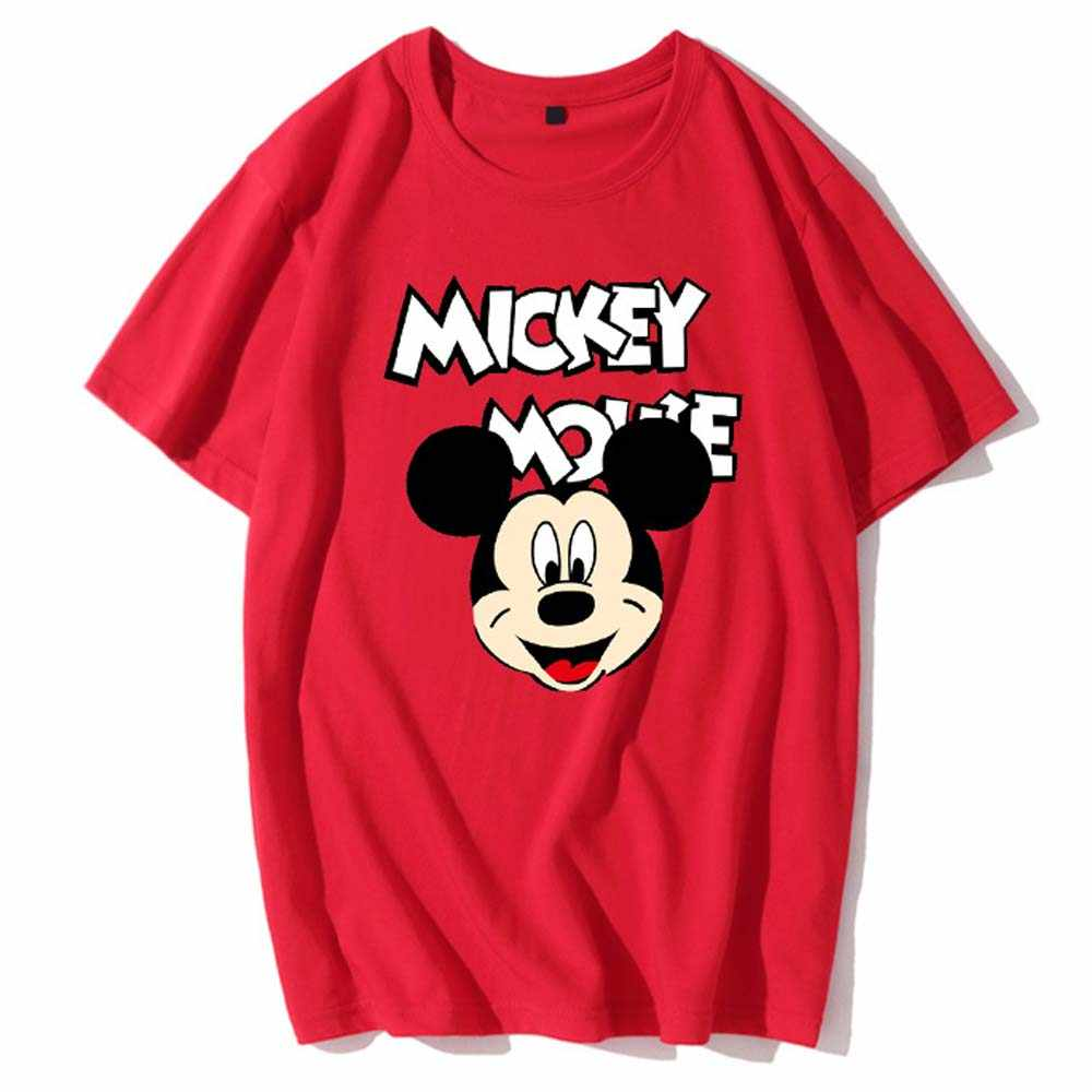 Disney pulôver de manga curta feminino, camiseta estampada mickey e minnie mouse, desenhos animados, estampa de letras, unissex, 10 cores