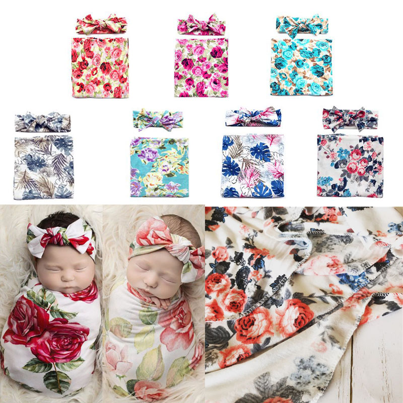 2 Pcs/set Baby Wrapping Cloth Newborn Headband Set Printing Package Swaddle Blanket Hair Band Bathing Gifts Photo Props