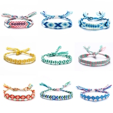 Cool summer anklet retro bohemian beach wind color rope hand-woven multicolor bracelet jewelry gift VB1088