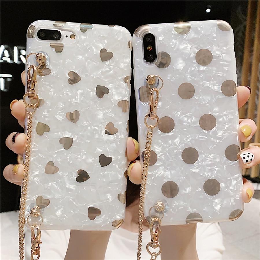 Gilding chain strap tpu case for huawei mate 20 pro P30 P20 honor 10 nova 5 4 3 3i cover glitter foil love