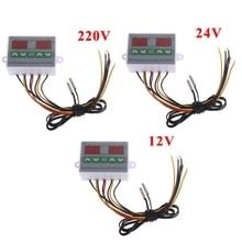 220V 12V 24V Digital Dual Temperature Controller Thermostat Incubator Dual Probe