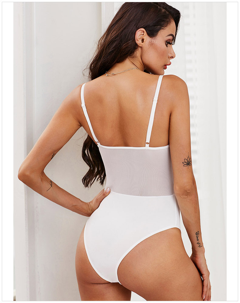 Ellolace White Lace Up Lace Bodysuit Women Deep V Female Body Mesh Sleeveless Sexy Bodycon Overalls Mesh Patchwork New Bodysuits in Bodysuits from Women 39 s Clothing