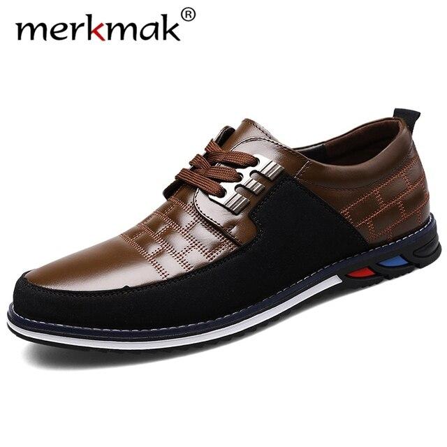 Merkmak 2020 Lente Nieuwe Lederen Mannen Schoenen Mode Toevallige Ademende Slip Op Formele Zakelijke Wandelen Schoeisel Schoenen Big Size 48