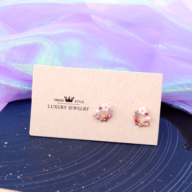Wholesale 100pcs/lot 5x9cm Fashion Earrings Display Card Beige Paper Cards Fit DIY Jewelry Ear Studs Custom Logo Need Extra Cost