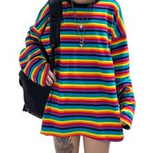 Autumn Women Clothes Rainbow Stripe Long Sleeves T Shirt Harajuku Female Sleeve Plus Size Tshirts Woman Tops