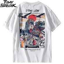 2019 Harajuku T Shirt Hip Hop T Shirt Leone di Pietra Cinese Streetwear Magliette di Estate Manica Corta In Cotone Magliette E Camicette Magliette Pantaloni A Vita Bassa nuovo