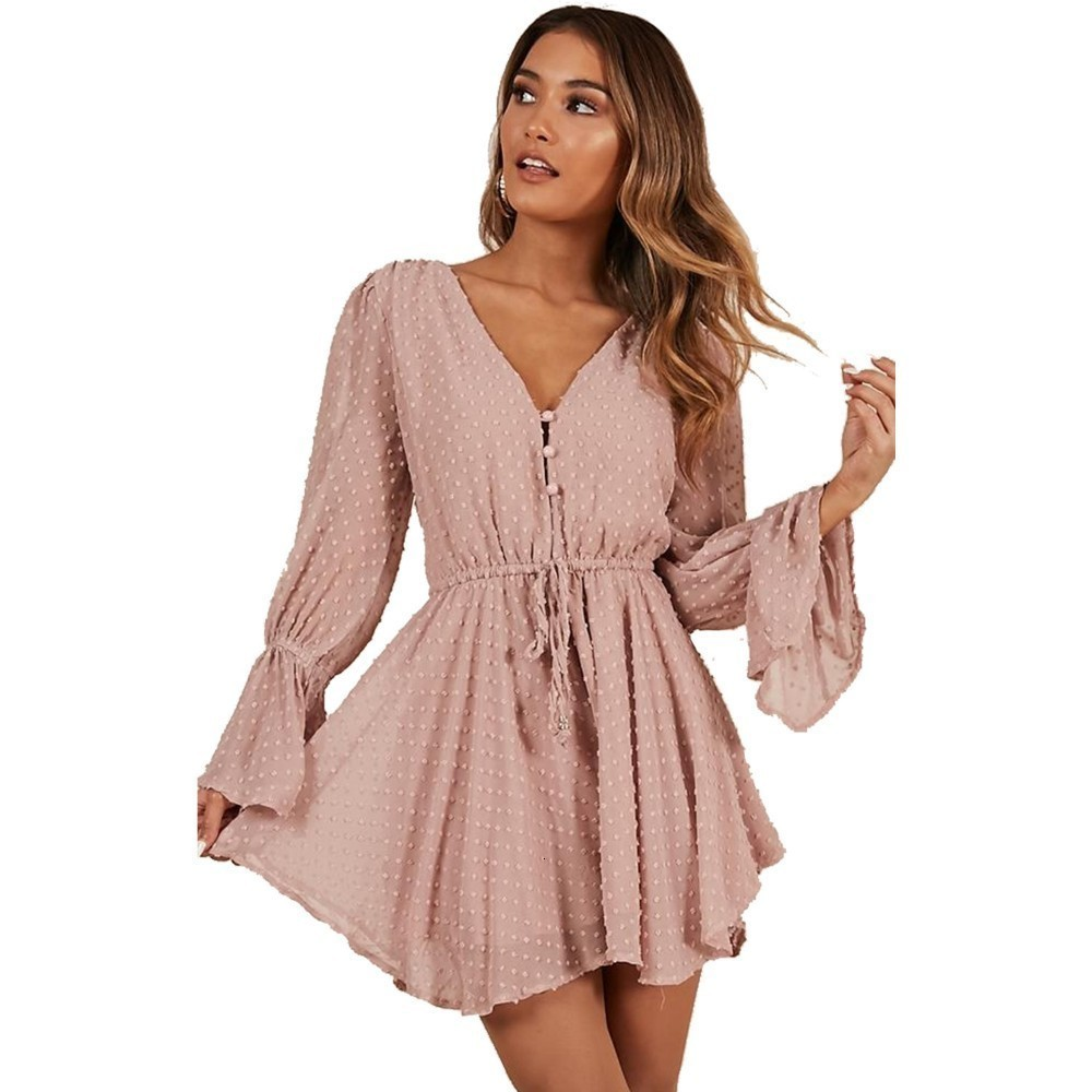 2019 Summer Bohemian Sexy Transparent Playsuit Beach Overalls Pink Dot Short Jumpsuit Women Rompers Long Sleeve