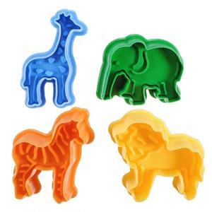 4pcs Animal Cookie Plastic Lion Giraffe Zebra Shape Cookie Cutter Baking Decorating Cake Tools