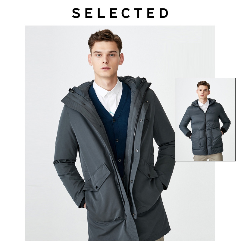 SELECTED Men's Winter Detachable Lining Hooded Down Jacket S|419412560
