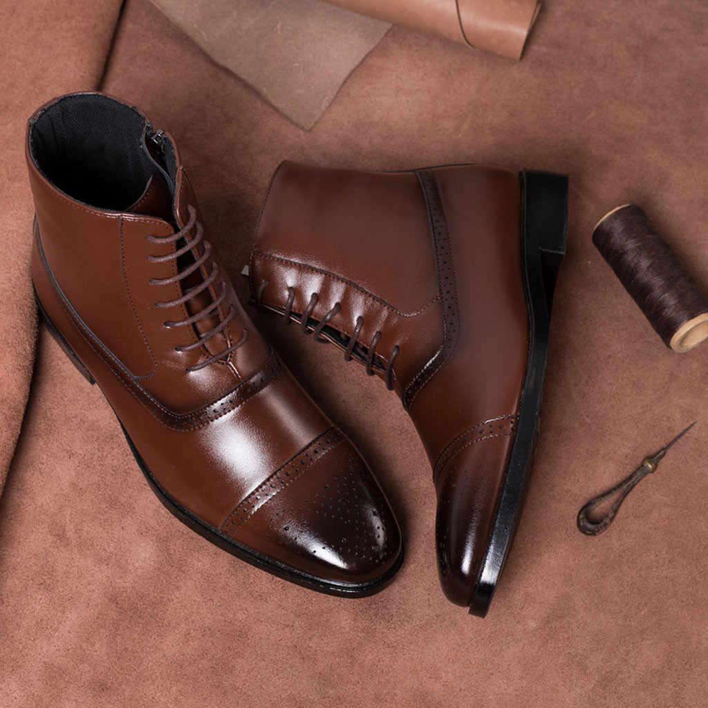 SAGACE High-end-herrenmode wies high-hohe straps seite zipper stiefeletten shiny leder stiefel Martin stiefel in die stiefel
