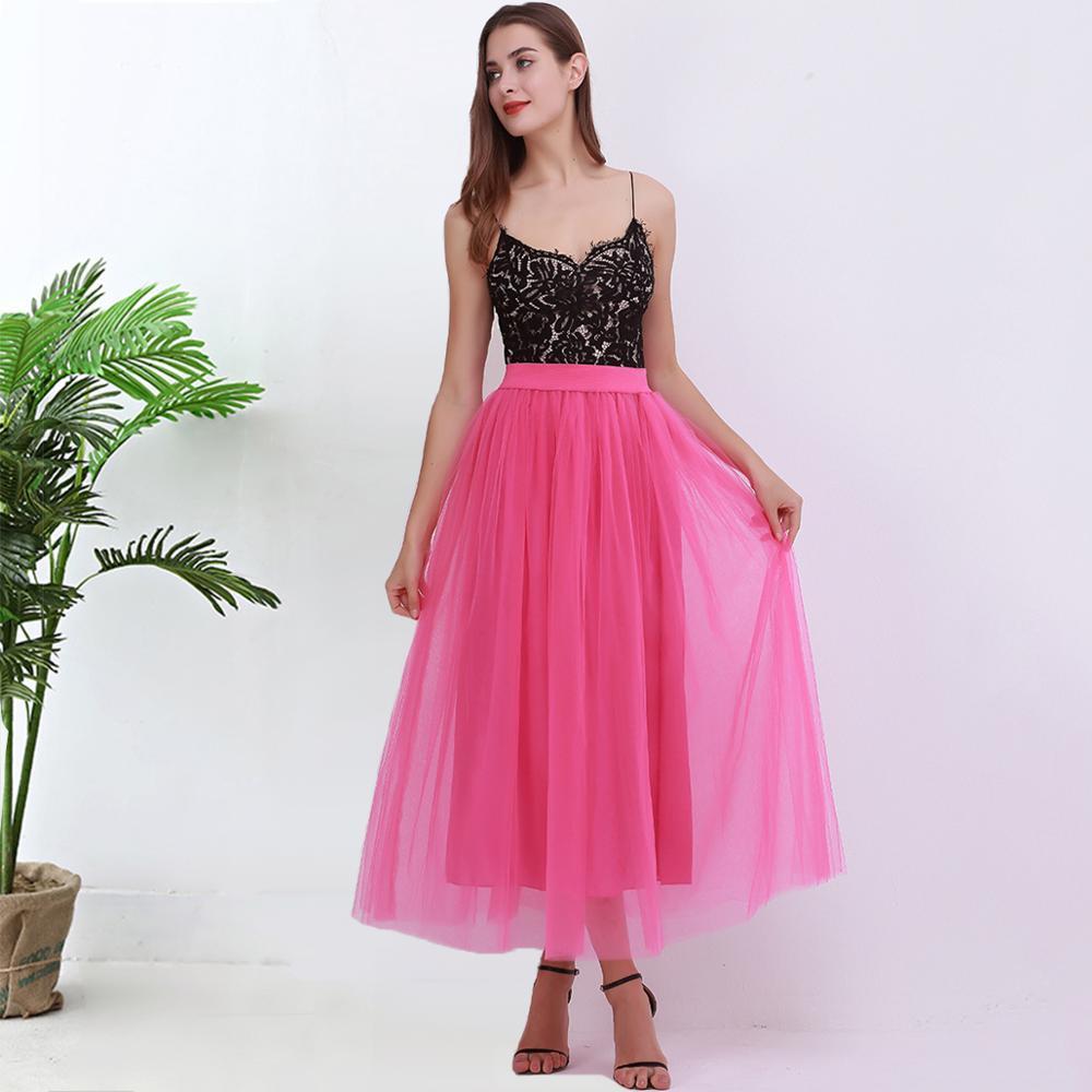 100cm New Arrive Women Vestidos Long Tulle Skirts 2020 Floor Length Tutu Skirts Adult Wedding Lolita Sashes Bridesmaid Skirts