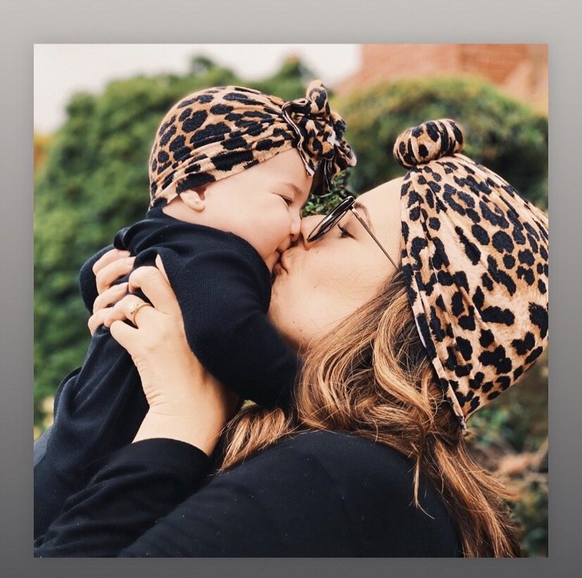 Mom And Baby Headbands Set Spring And Autumn Leopard Flower Printed Turban Infant Headwrap Hair Accessories For Newborn