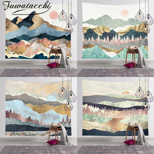 Fuwatacchi Hot Mountain Forest Tree Tapestry Wall Tapestry Sunset Nature Landscape Wall Hanging Decor For Bedroom Home Decor sunset forest horse pattern wall art tapestry