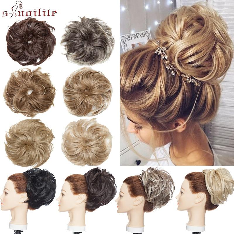 S-noilite Scrunchy Hair Bun Messy Bun Women Chignon Wrap Ponytail Synthetic Hair Extension Hairpieces For Women Hair Band Donut