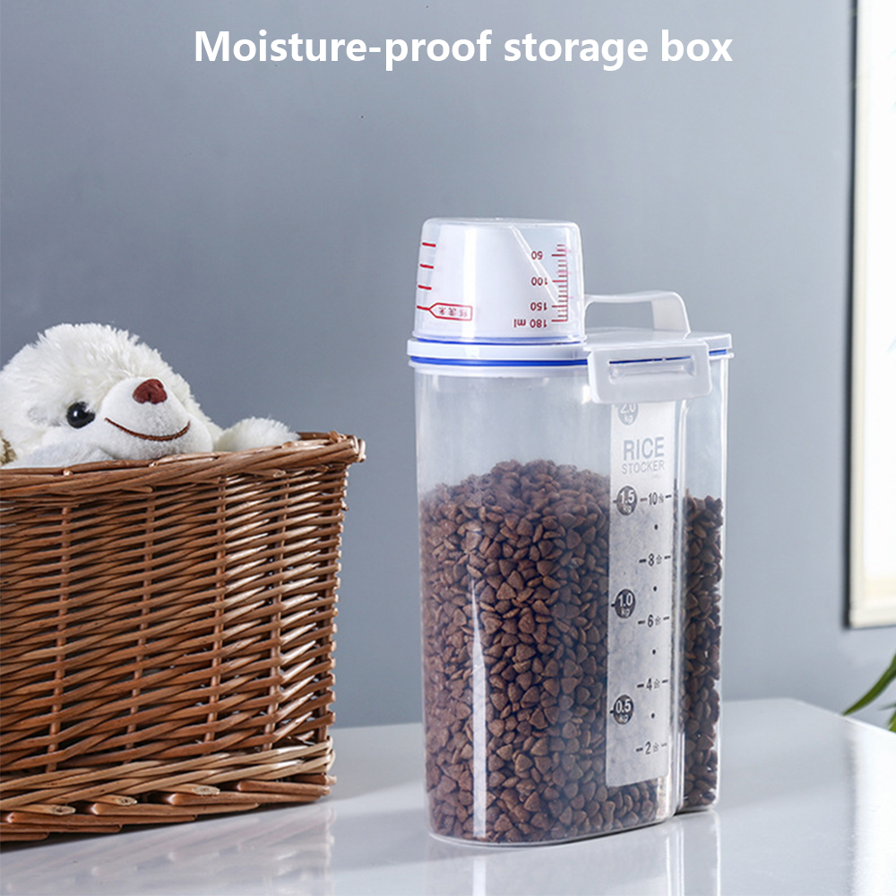 Pet Food Storage Container Airtight Foods Bucket 2.5L Large Capacity Moisture-proof Storage Tank With Measuring Cup For Dog Cat