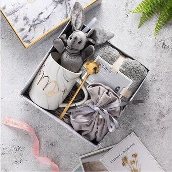 EWAYS-taza de café de porcelana de mármol Natural, taza de leche de té Mr y Mrs, regalo creativo de aniversario de boda