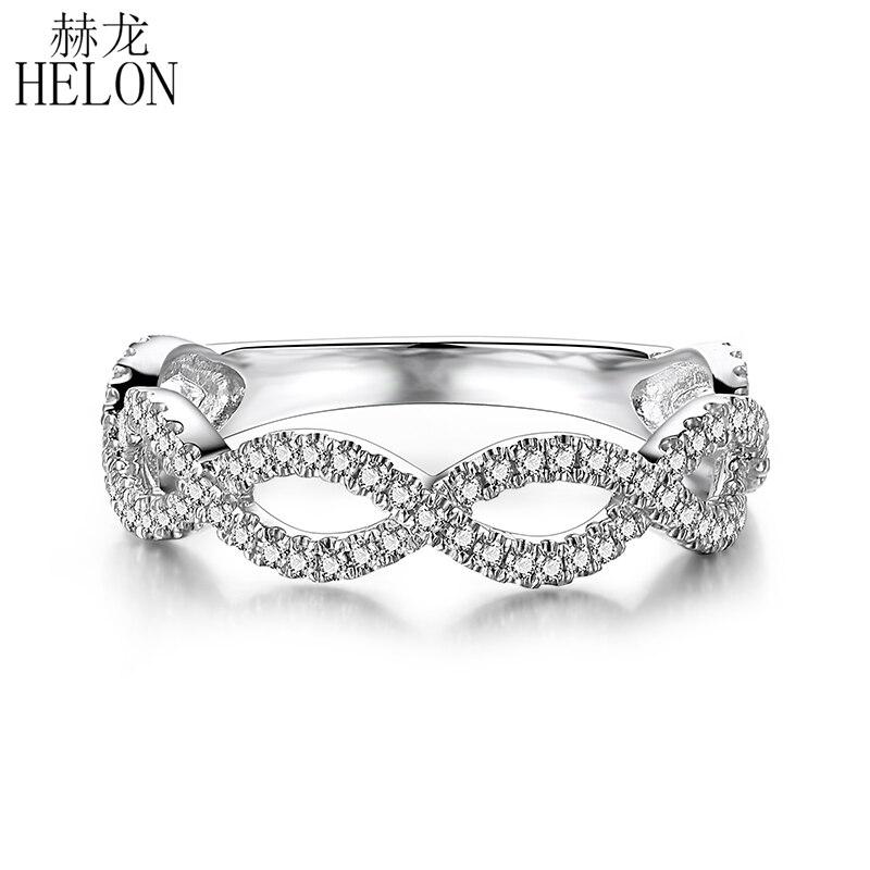 HELON sólido 10K oro blanco Pave 0.33ct 100% diamantes naturales genuinos Aniversario de compromiso mujeres anillo de joyería fina clásica regalo