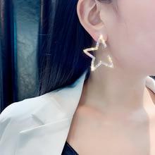Fashion drops big trendy crystal star women dangle earrings pentagonal shoot bohemian drop