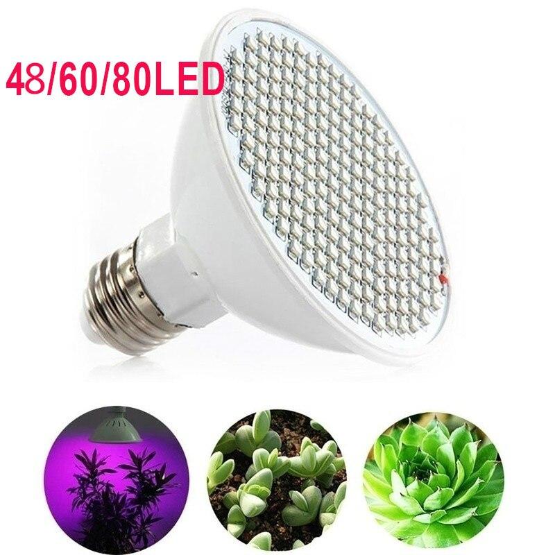 LED Grow Bulb New E27/E14 48/ 60/ 80 LEDS Indoor Full Spectrum Hydroponic Plant Growing Light Gardennings Supplies AC110V/220V