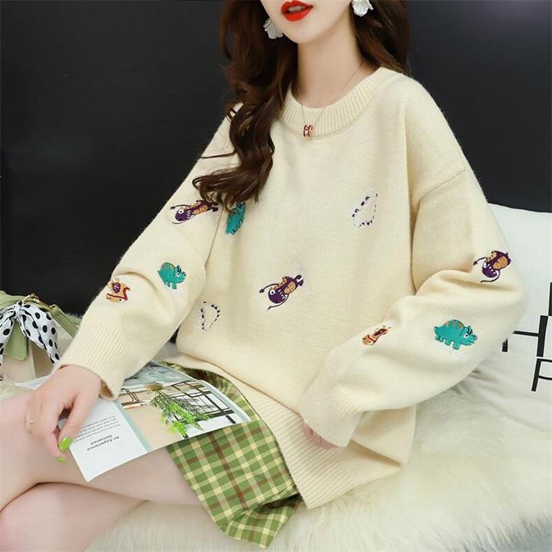 Loose Head Long-sleeved Solid Color Cartoon Sweater Female Autumn Wild Wild Jacket Shirt Korean Version