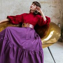 YIGELILA Women Fashion Pullovers Blouse Elegant Lantern Sleeve Shirt Solid Spring Blouses Chic Tops 71044