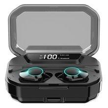 Caletop TWS G02 Bluetooth Earphones V5.0 Wireless Headphones 9D Stereo Music IPX7 Waterproof Earbuds with 3300mAh Charging Case