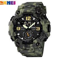 SKMEI-reloj militar Vintage para hombre, pulsera impermeable de 50m, estilo deportivo informal, Digital, banda de cuero PU