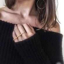 RscvonM минималистичные кольца миди для женщин модные геометрические Длинные Бар фаланговые ювелирные украшения Винтажные золотые серебряные кольца в стиле «Бохо» подарок
