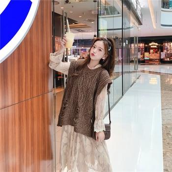 O-neck Long Knitted Women's Sweater Sleeveless Jacket Winter Warm Female Vest Korean Ruffle  For Women Fashion Loose Waistcoat 2