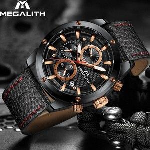 Image 2 - MEGALITH אופנה צבאי שעון ספורט גברים שעונים עמיד למים הכרונוגרף שעון גברים עור רצועת קוורץ יד שעונים זכר 8004
