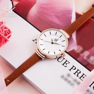 Image 5 - Shengke革ストラップ女性の腕時計カジュアル薄型バンドクォーツ腕時計女性レロジオfemininoレディースヴィンテージ腕時計