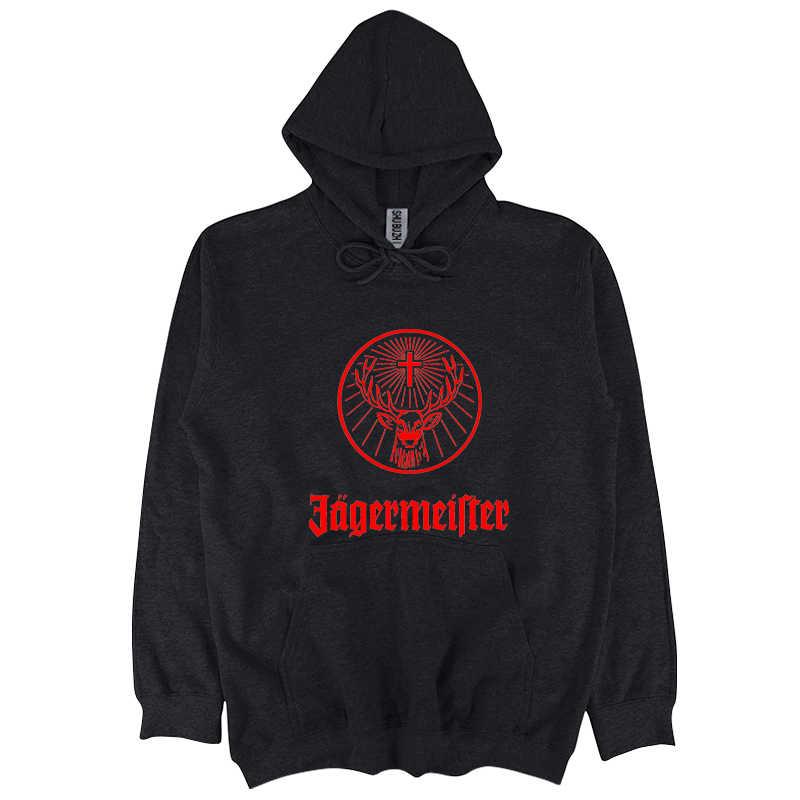 Jagermeister เยอรมันโลโก้ผู้ชายสีดำเสื้อใหม่แฟชั่นจาก US ชาย hoodies ซิป sbz6305