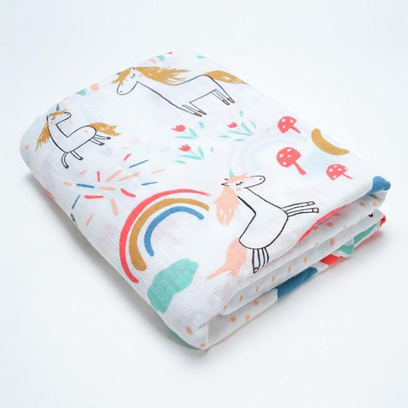 Baby Blankets Cotton Newborn Photography Accessories Stroller Cover Cartoon Pattern Wrap Baby Play Mat Muslin Swaddle Blanket | Happy Baby Mama