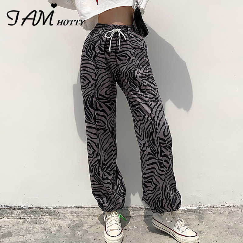 IAMHOTTY Zebra Print Cargo Pants Capri Women High Waist Casual Joggers Bottom Sweatpants Trousers Y2k Pants Korean Streetwear